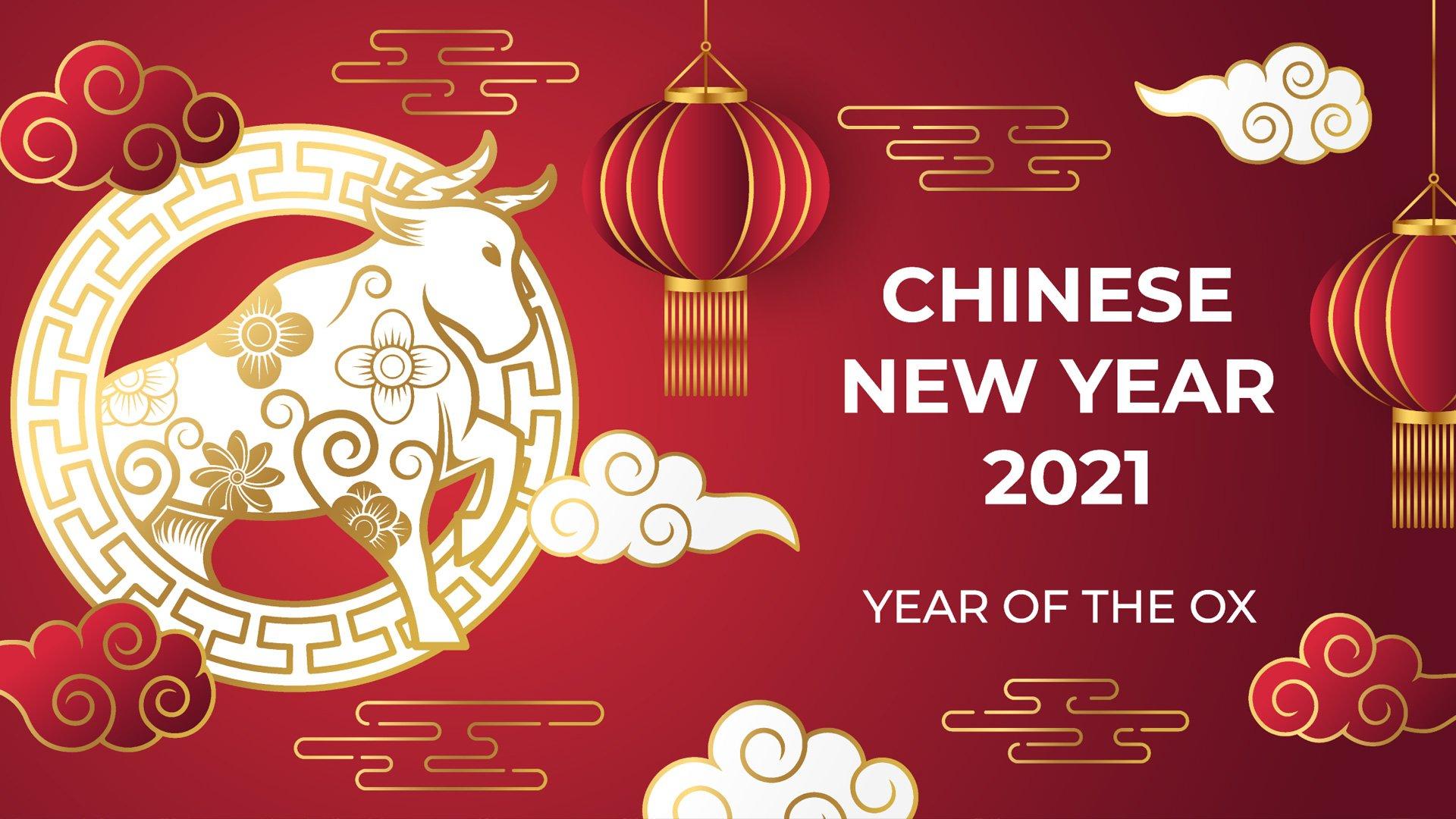 Illustration Chinesisches Neujahr mit goldenem Ochsen