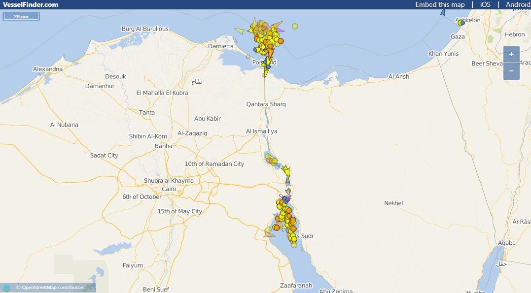 Karte Frachtschiff Ever Given steckt im Suez Kanal fest