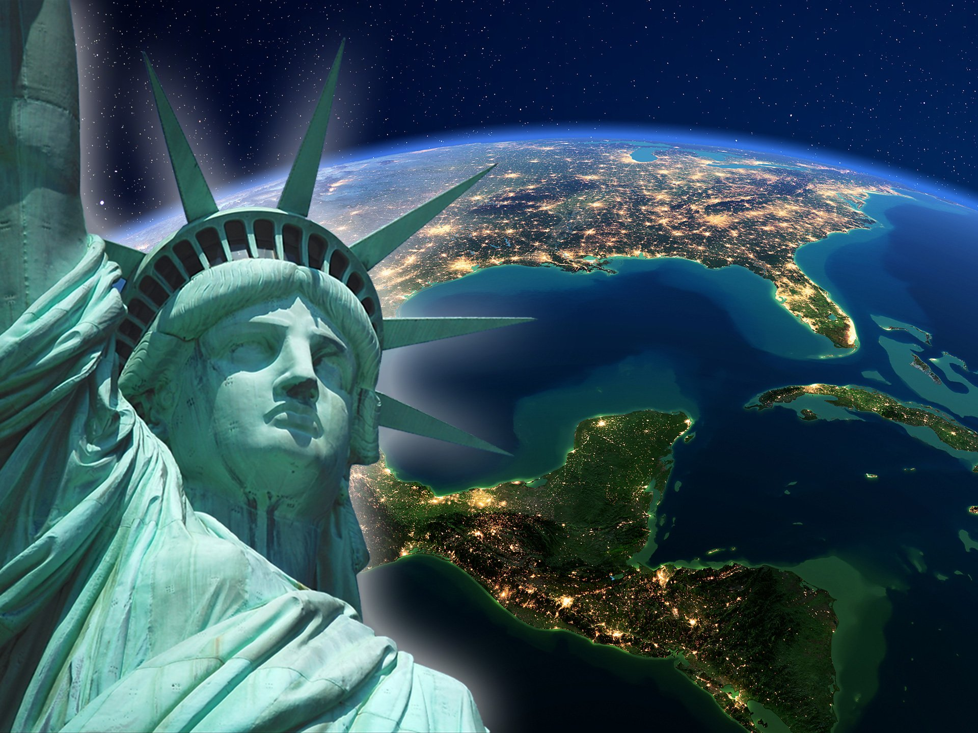 Satellitenaufnahme USA und Freiheitsstatue im Vordergrund