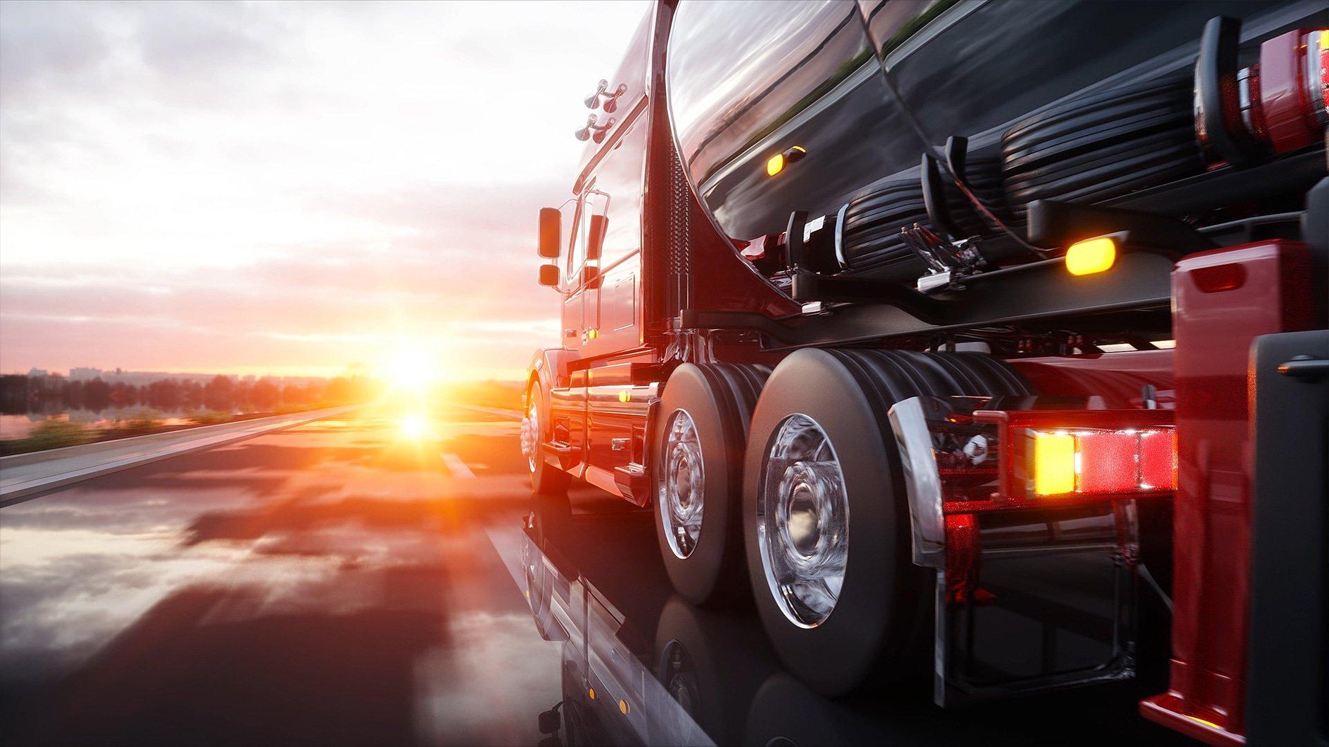 3D-Render Truck auf der Autobahn