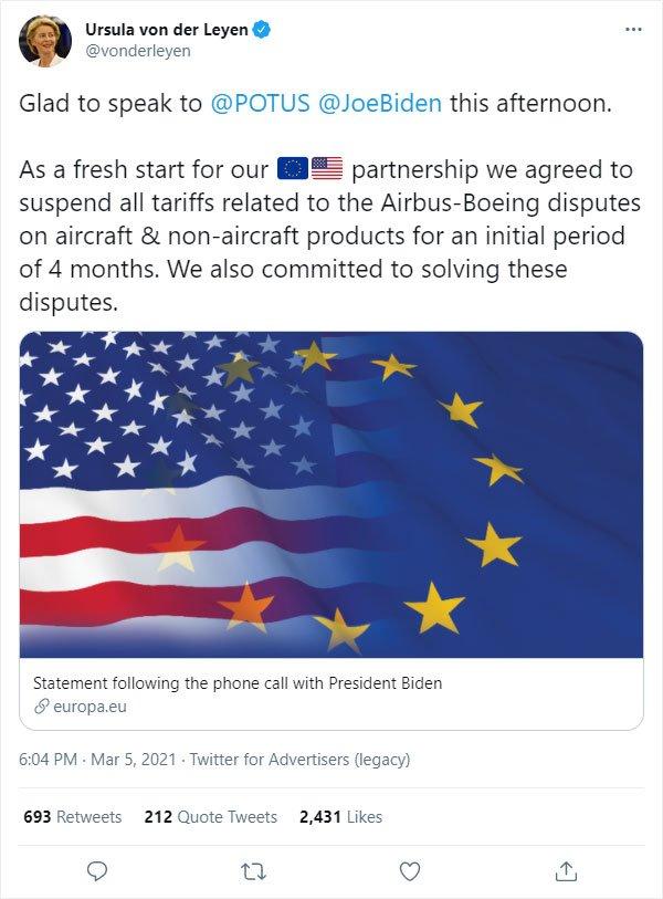Tweet zur Aussetzung Zölle im Flugzeugbau